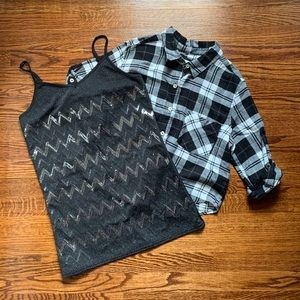 Forever 21 Cropped Flannel & Vanity Tank Bundle